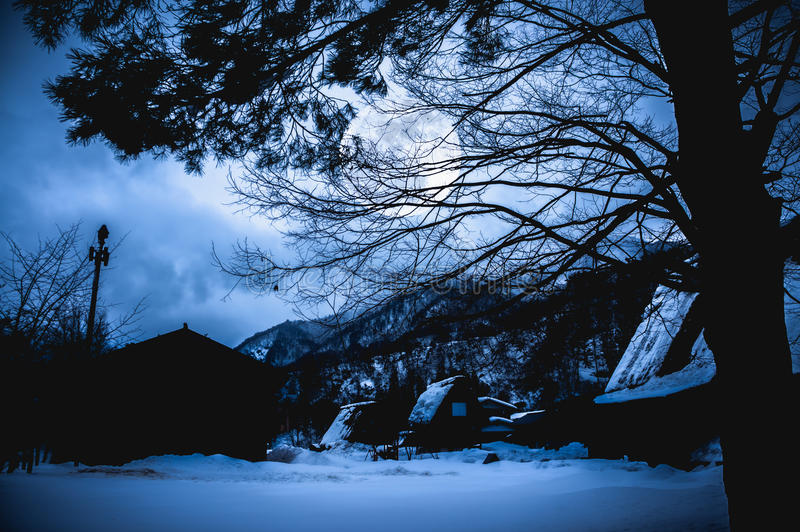 Snow covered the ground in winter. Silhouette of dry trees and f. Snow covered the ground in winter. Silhouette of town and dry trees, night sky and full moon on stock image