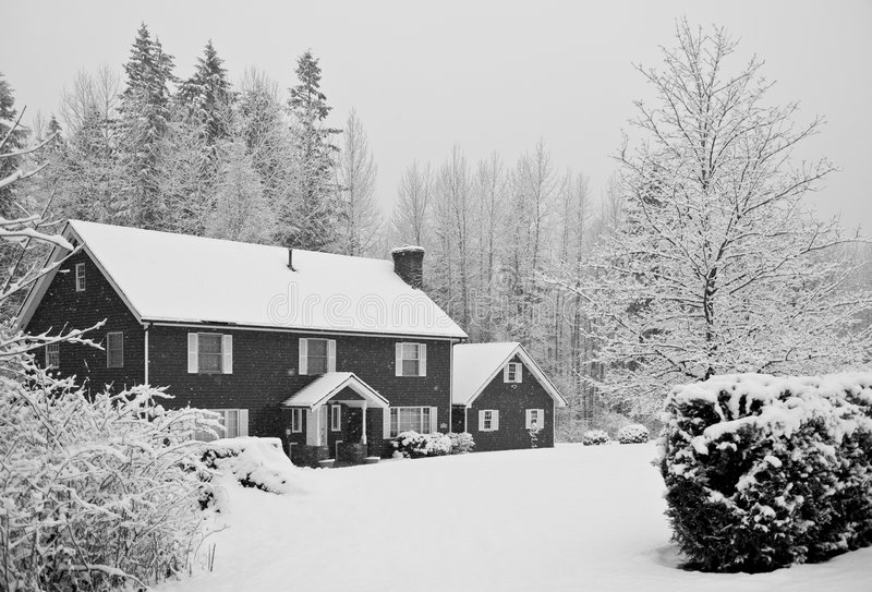 Snow covered house in forest stock photo