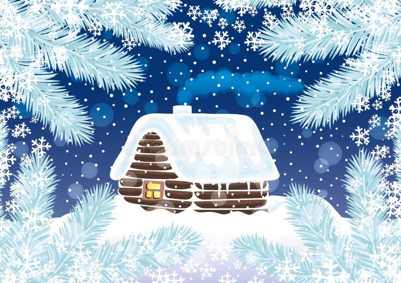 Snow-covered huis en nette takken royalty-vrije illustratie