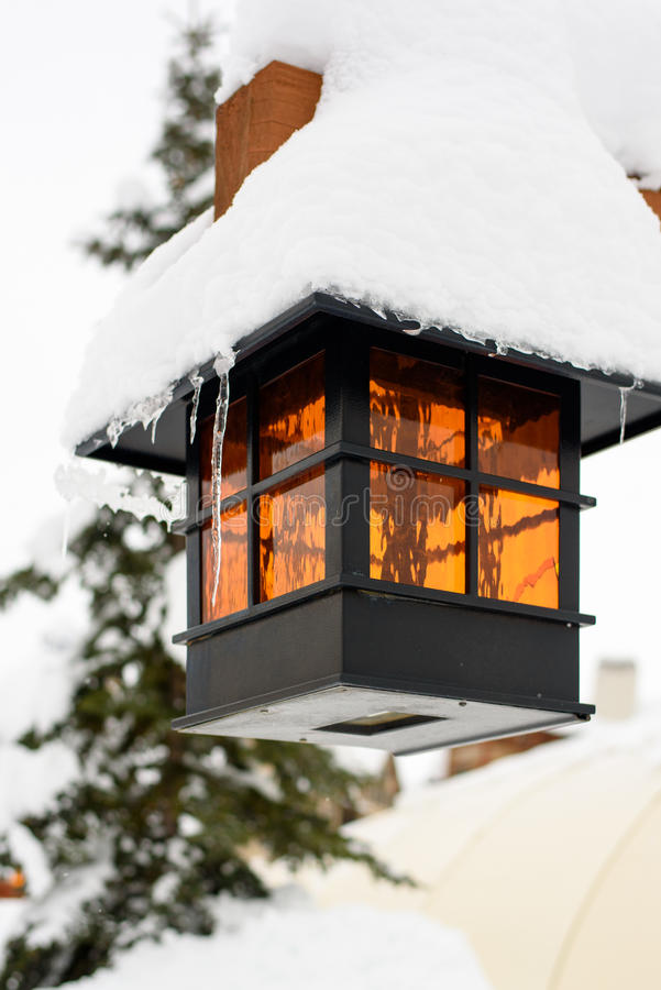 Snow Covered Lamp stock photography
