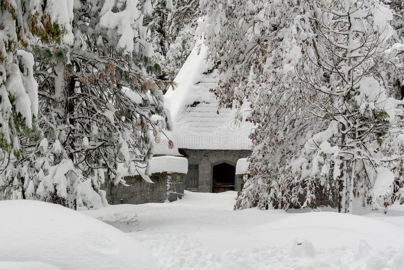 Snow-covered landscape in Yosemite stock photo