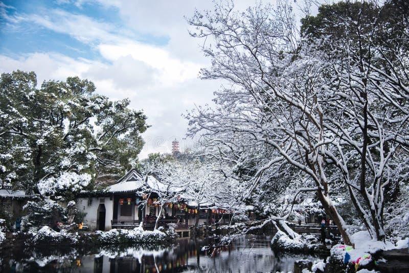 Snow-covered landschap van de Tuin van Wuxi Jichang royalty-vrije stock afbeeldingen
