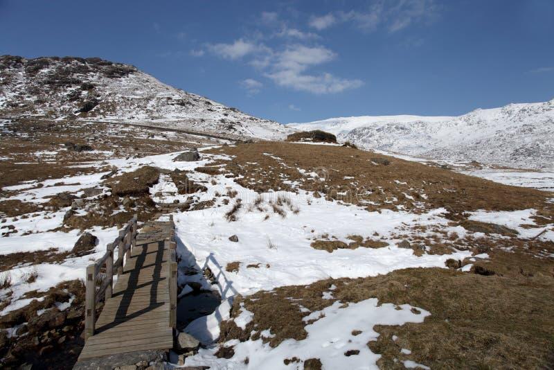 Llanberis pass snowdonia. Snow covered Llanberis pass Snowdonia north Wales UK royalty free stock images