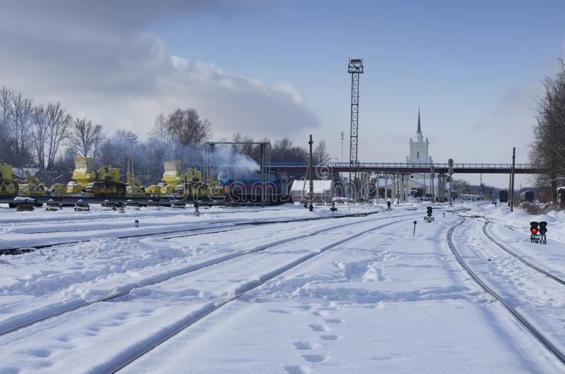 Snow-covered major railway hub. In winter time city of Dno, Russia royalty free stock images