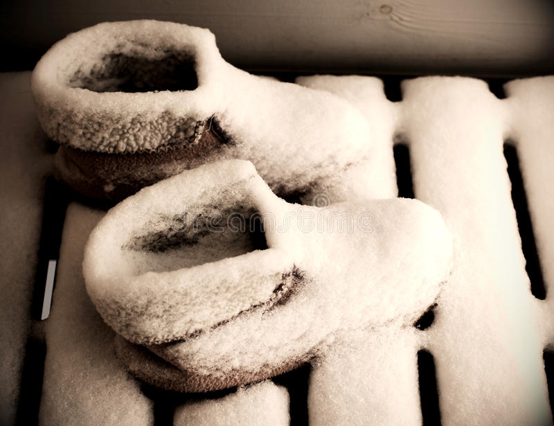 Snow Covered Morning Boots Royalty Free Stock Photo