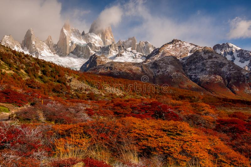 Snow-covered Mount Fitz Roy on beautiful fall day. Hiking in Los Glaciares National Park on a beautiful fall day, taking in the autumn colors in their full glory royalty free stock images