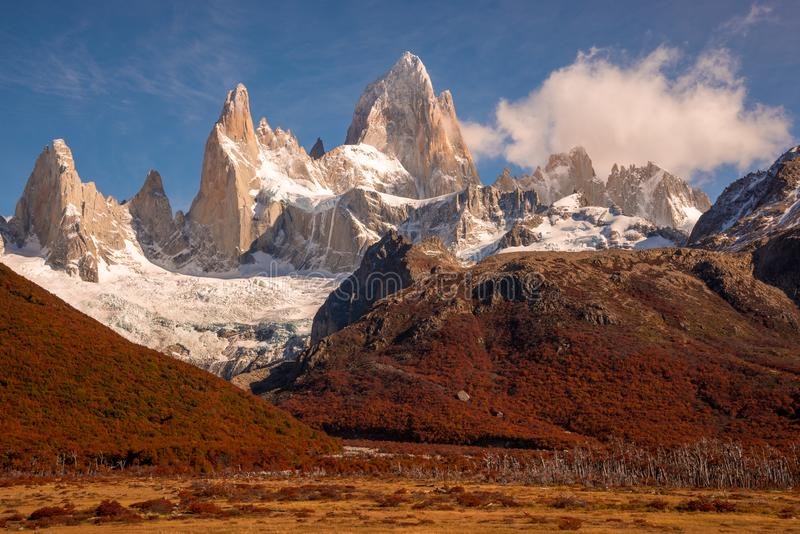 Snow-covered Mount Fitz Roy on beautiful fall day. Hiking in Los Glaciares National Park on a beautiful fall day, taking in the autumn colors in their full glory royalty free stock photography