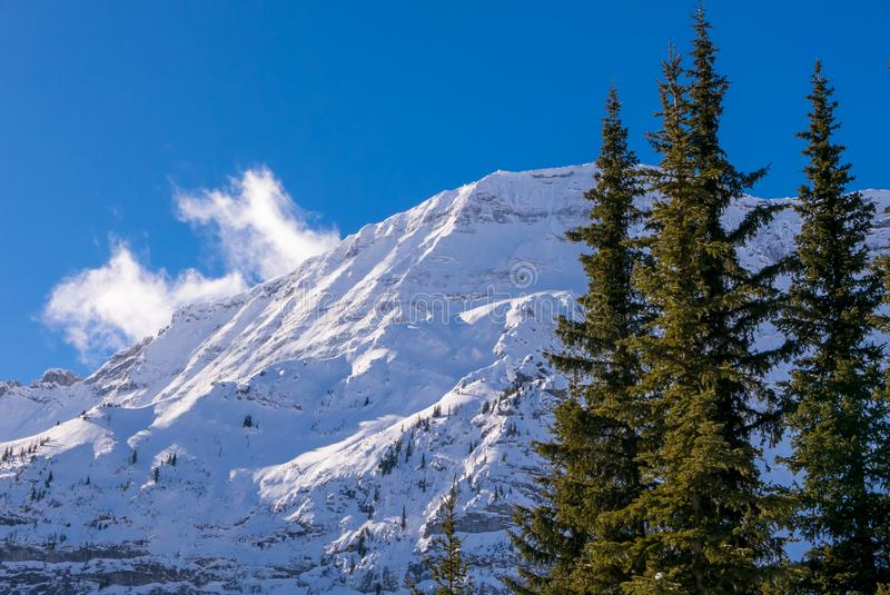 A snow covered mountain on a clear blue winter day in the Mountains at Black Prince Cirque in Kananaskis, Alberta stock images