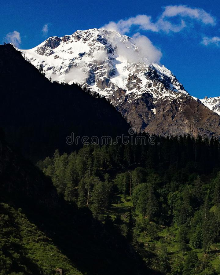 Snow covered mountain with lush green forest under it. Snow covered mountain with lush green forest under royalty free stock photography