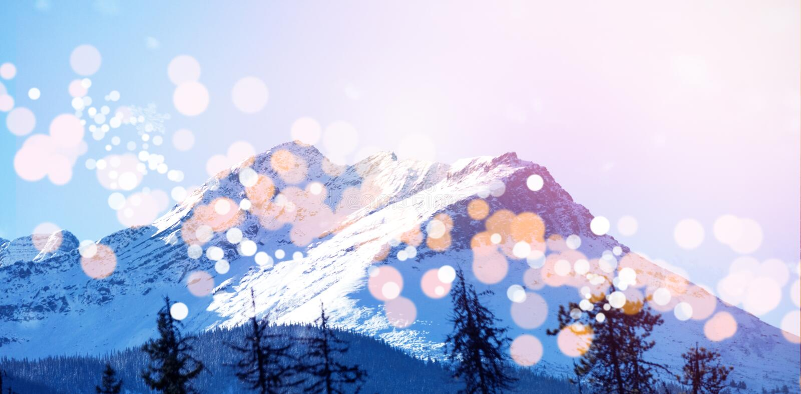Snow covered mountains with bokeh in foreground. Scenic view of snow covered mountains with bokeh in foreground stock illustration