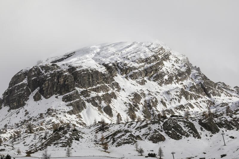 Snow covered mountains in the Dolomites of Italy royalty free stock images