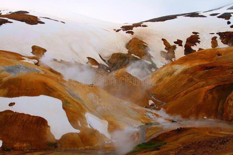 Hveradalir geothermal park, Kerlingarfjoll, Iceland. Snow covered mountains in Hveradalir geothermal park, Kerlingarfjoll, Iceland stock photography