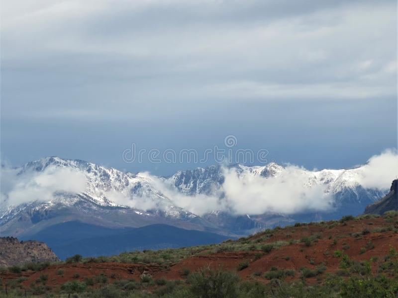 Snow covered mountains royalty free stock photography
