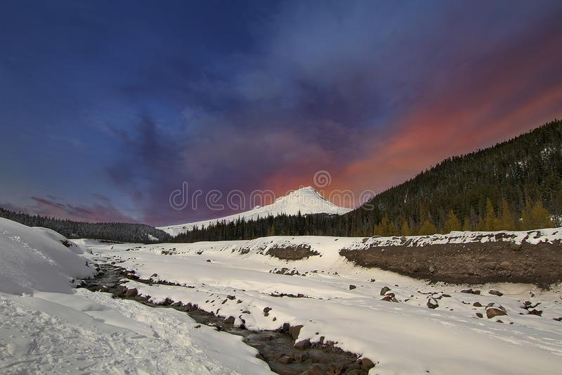 Snow covered Mt Hood Winter Wonderland in Oregon royalty free stock photo