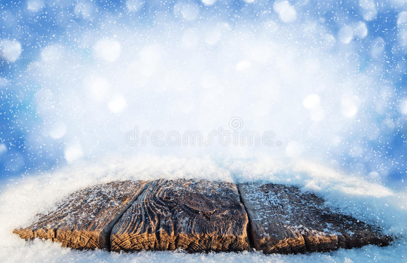 Snow-covered old table stock photography