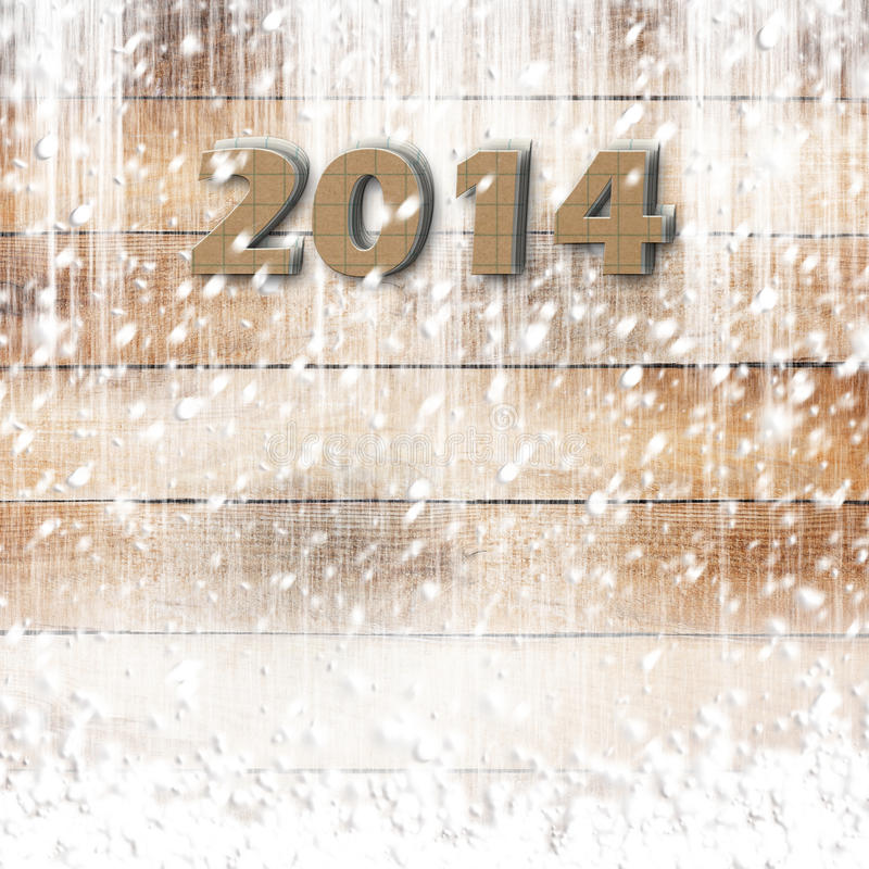 Snow-covered Paper numbers of new 2014 royalty free stock photo