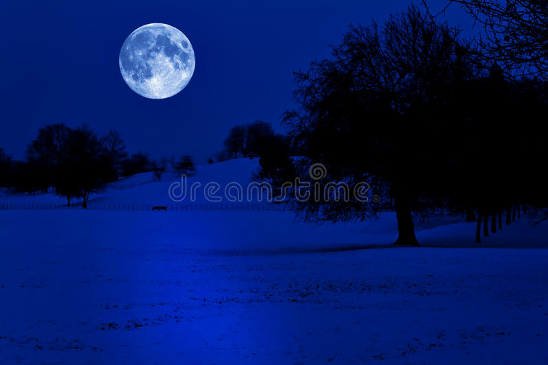 Snow covered park at midnight with a full moon royalty free stock photo