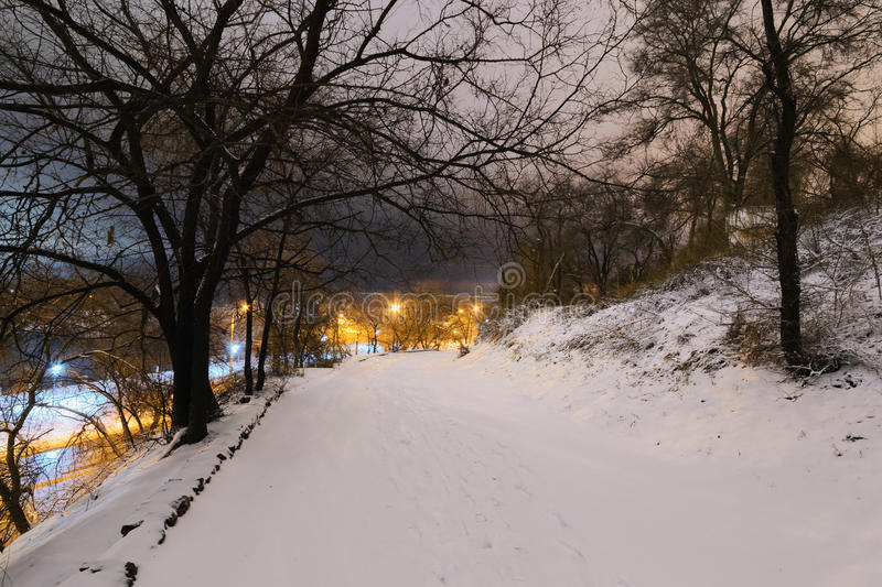 Snow covered path lit by street lights stock photo