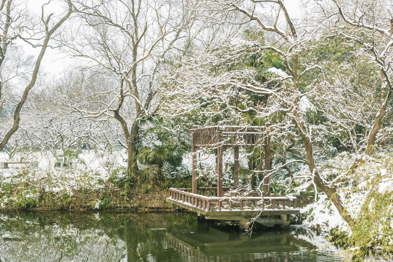 Snow covered pavilion stock photography