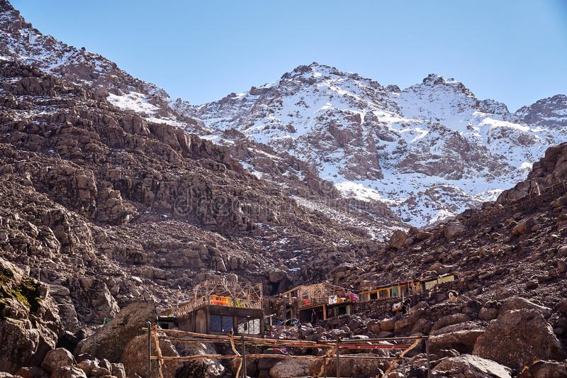 Snow-covered peak of Jebel Toubkal, the highest mountain of North Africa royalty free stock photos