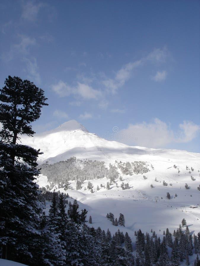 Snow covered peak over Wengen, Switzerland royalty free stock photography