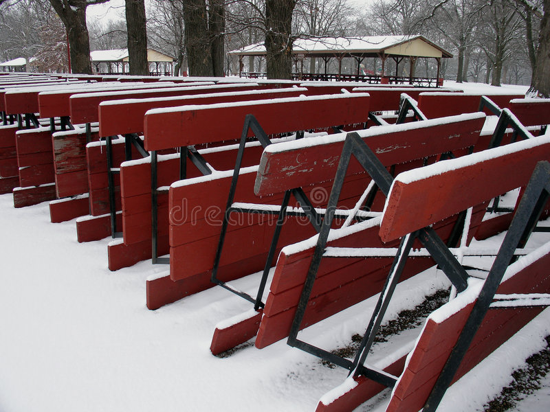 Download Snow covered picnic tables stock photo. Image of cold, upturned - 463418