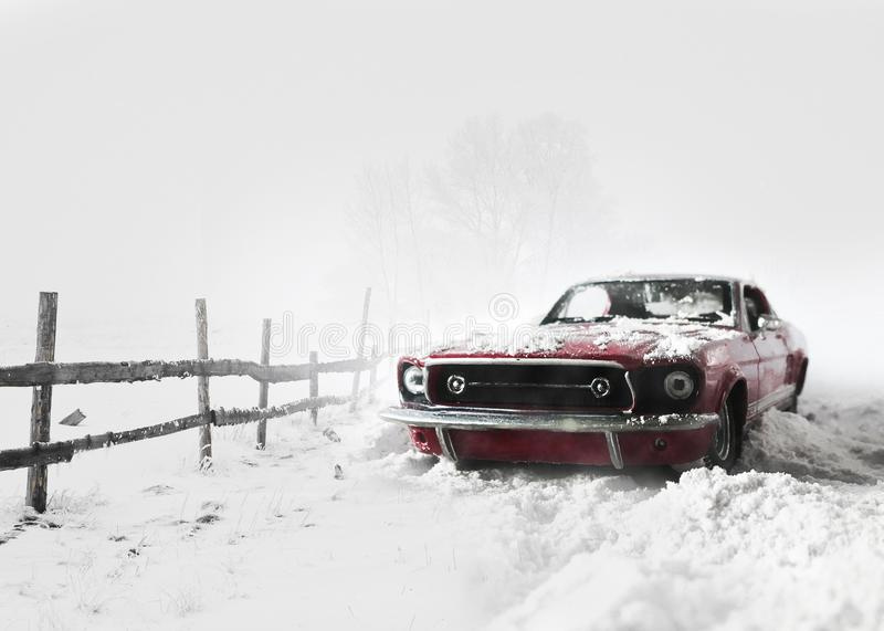 Snow covered Red car winter background. royalty free stock photo