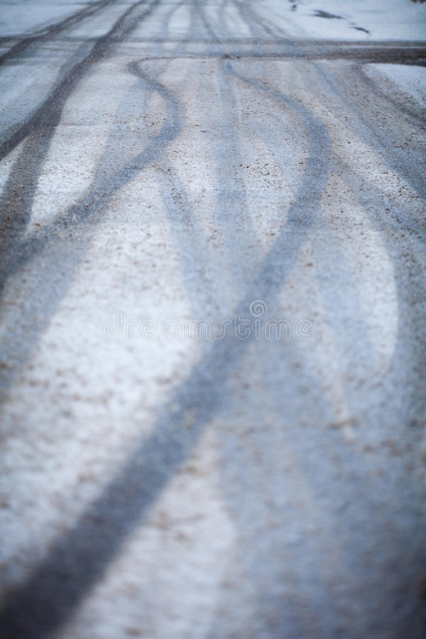 Snow-covered Road, The Marks Of Wheels Stock Photography