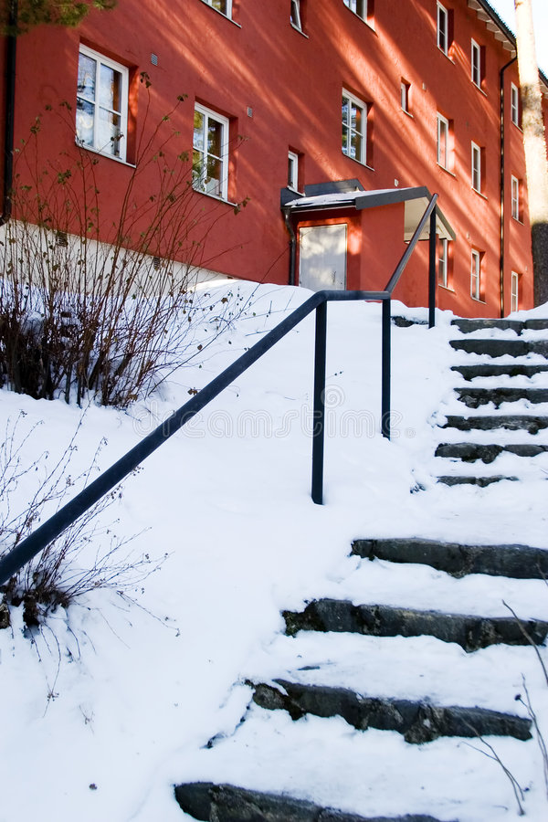 Snow Covered Stairs stock images