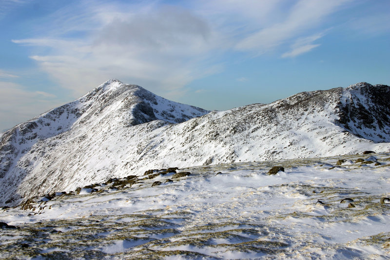 Snow covered summit. Mountain landscape in Scotland during winter royalty free stock photo