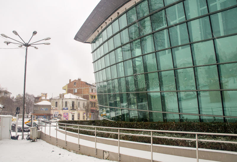 Snow-covered theater in the center of Pomorie, Bulgaria, winter stock images