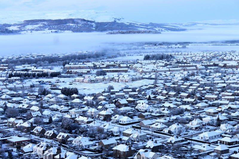 Snow covered town in winter stock photo