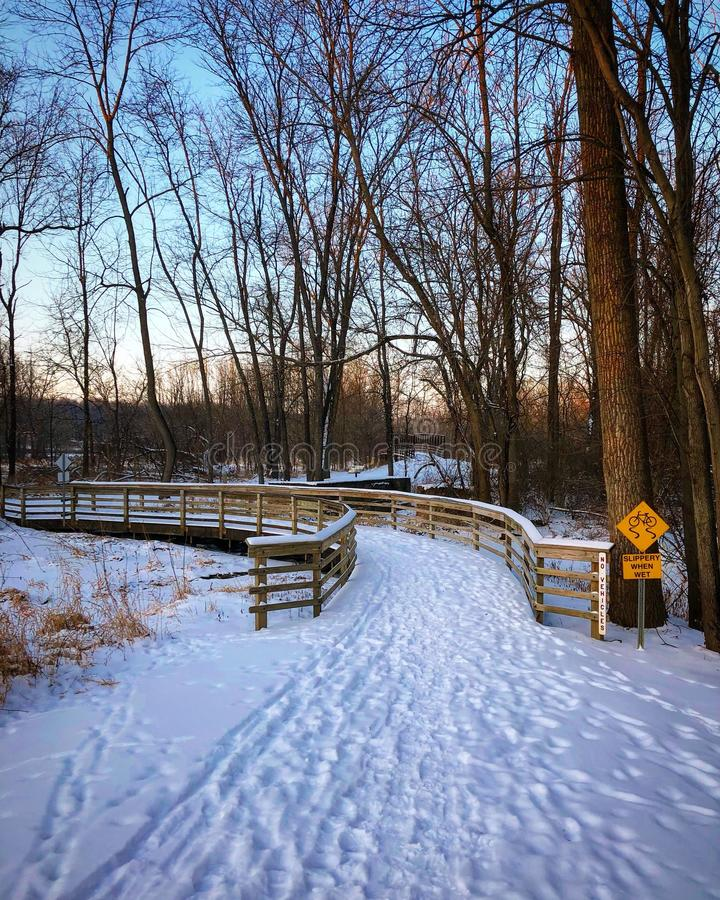 Park Trail in Winter royalty free stock photo
