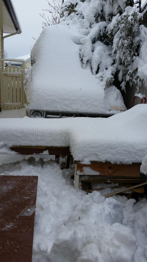 Snow covered van , trees and tables stock photography
