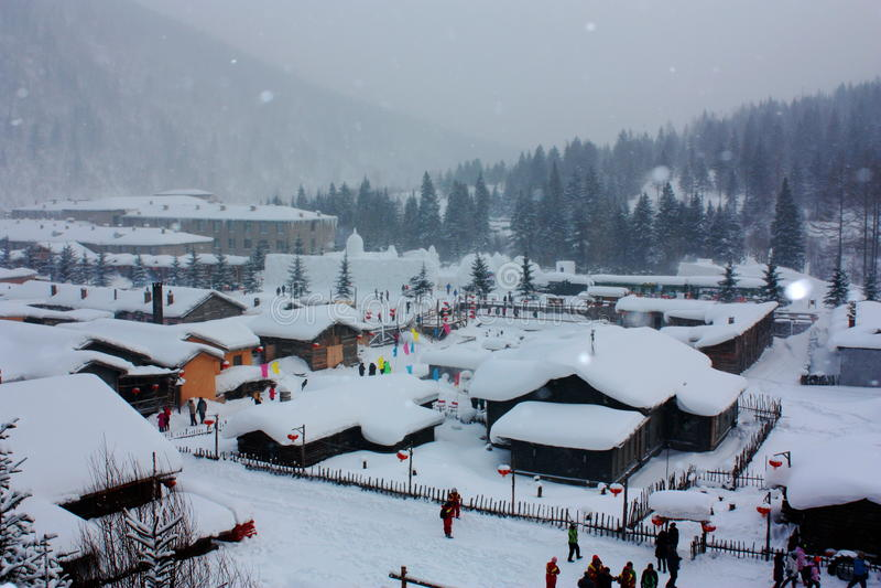 Snow covered village stock photos