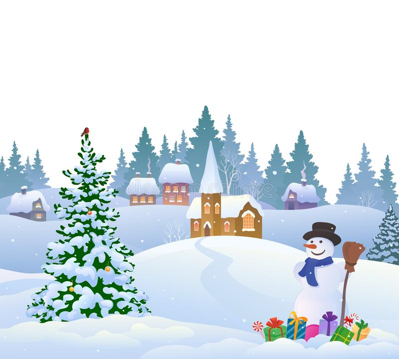 Snow covered village. Vector cartoon illustration of a snow covered village and a snowman with gifts, isolated on a white background vector illustration