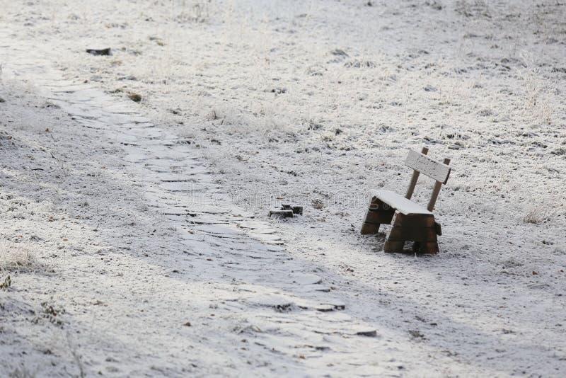 Snow-covered weg in het park stock afbeelding