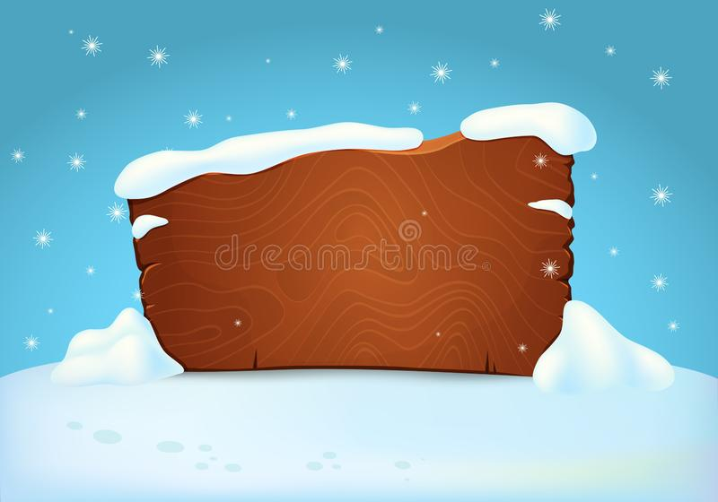 Snow covered wooden signboard on the snowy ground with falling snowflakes. Snow covered wooden signboard on the snowy ground with falling snowflakes on blue stock illustration