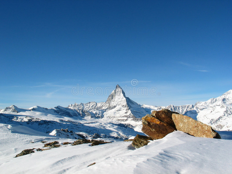 Snow cowered Matterhorn royalty free stock photos