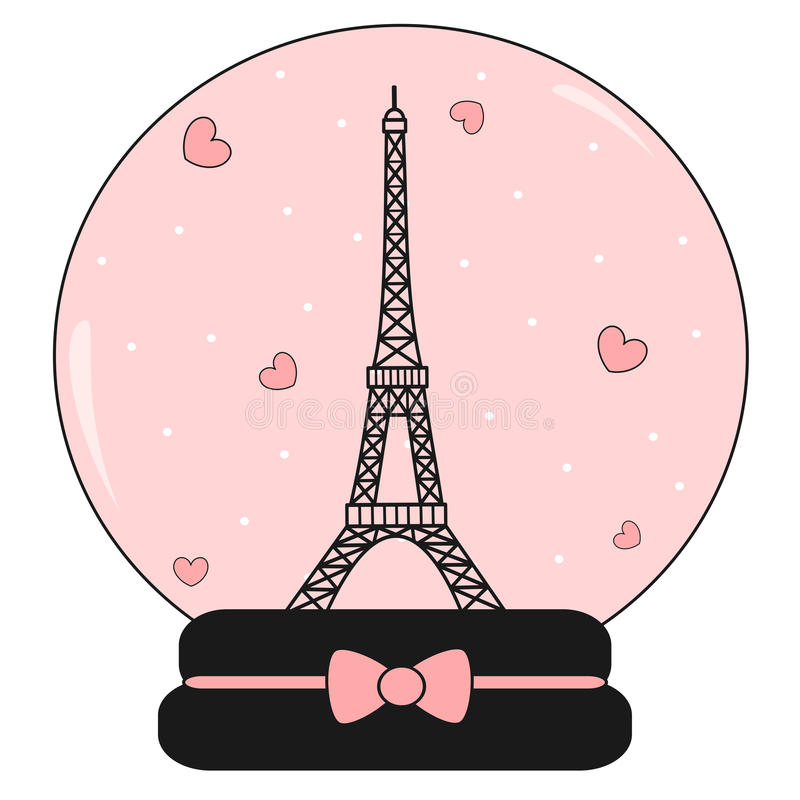 Download Snow Crystal Ball With Eiffel Tower And Hearts Cute Lovely Pink Romantic Illustration Stock