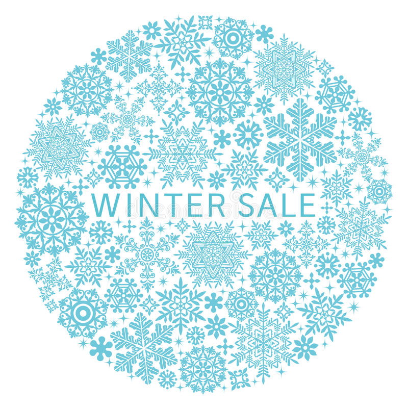 Free Snow Crystals In Circle. Stock Images - 44107084
