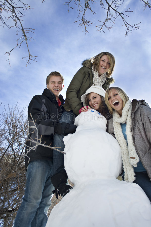 Snow Day Fun with Snowman royalty free stock photo