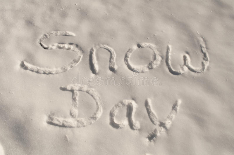 Snow Day. An image of the words snow day written in the snow royalty free stock photos