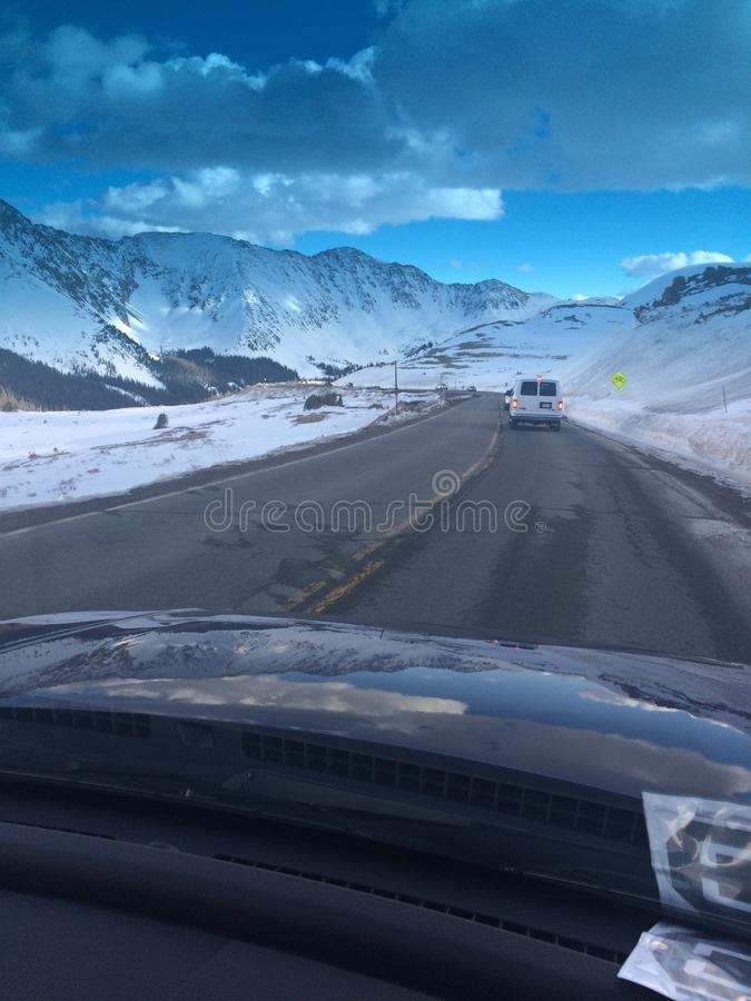 Snow day road trip royalty free stock photography