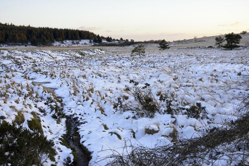 Priddy Mineries. Snow on distrubed ground at Priddy Mineries, Mendip Hills, Somerset royalty free stock photos