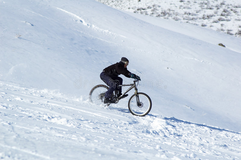 Download Snow downhill on bike stock image. Image of outdoors, cycling - 1276925