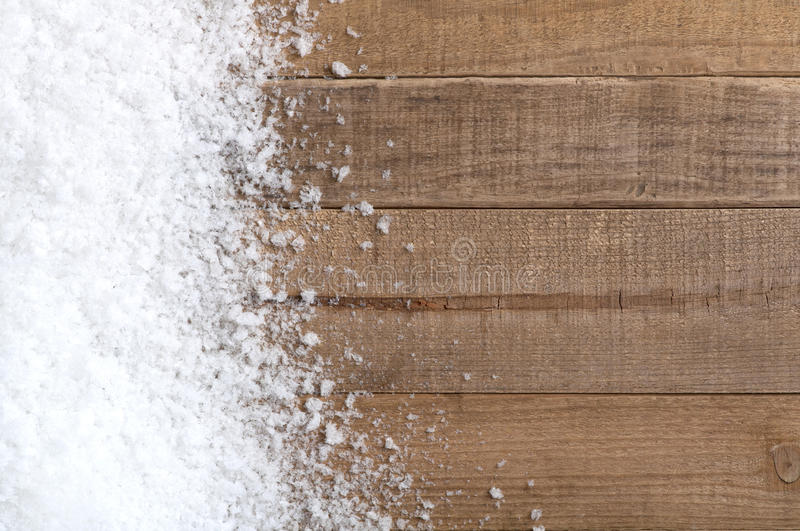 Snow drift on Wood Boards with Blank Space or Room stock images