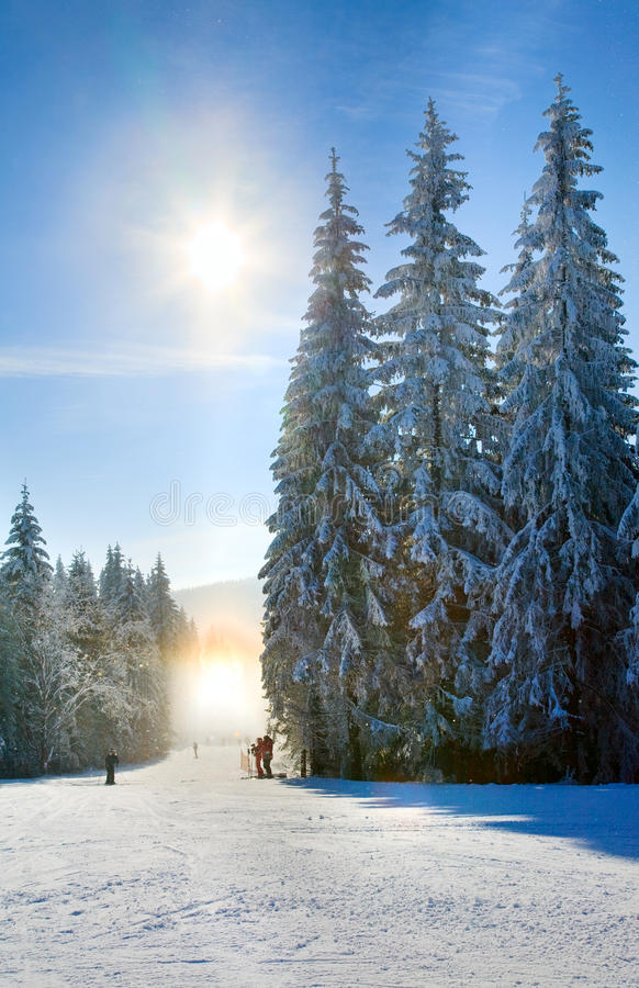 Snow dust dazzle shining on winter skiing slope stock images