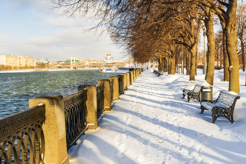 Snow on the embankment in Gorky Park in Moscow stock photo