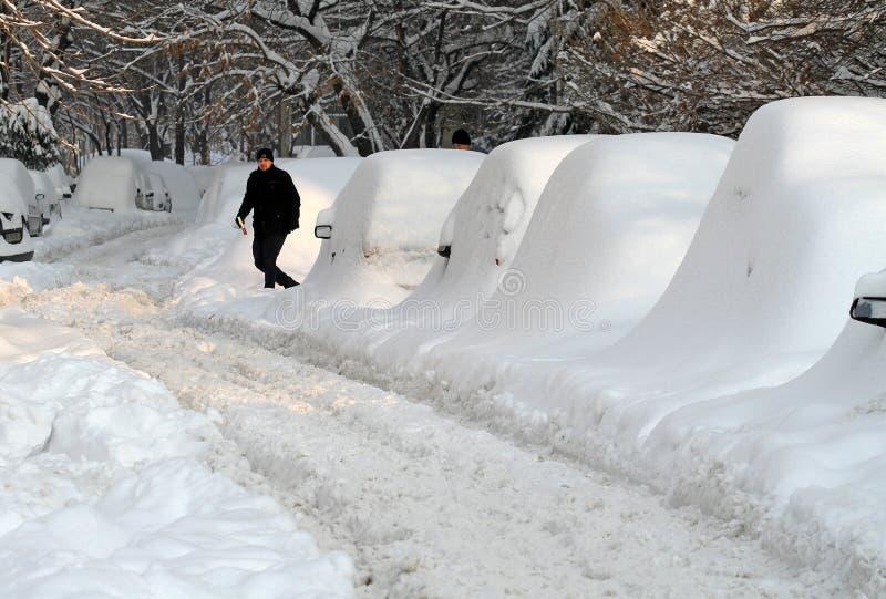 Snow - extrem vinter i Rumänien royaltyfria bilder